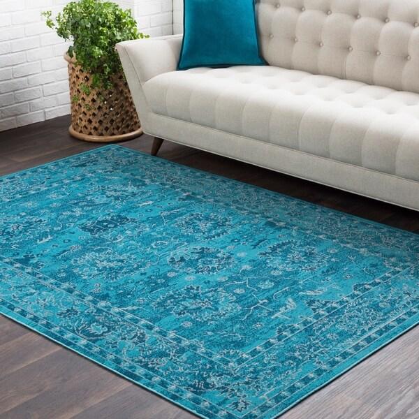 Shop Trocadero Blue Contemporary Persian Area Rug 7 10