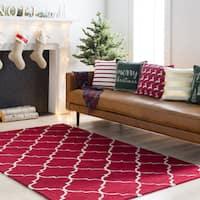 Colonial Home Red Contemporary Trellis Handmade Area Rug - 7'6 x 9'6