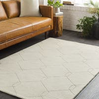 Strick & Bolton Anita Ivory Geometric Links Hand-loomed Wool Area Rug - 8' x 10'