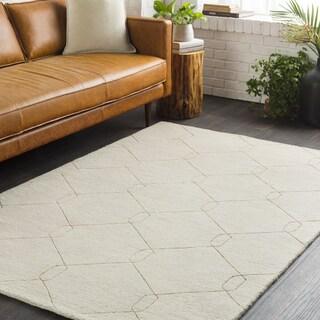 Strick & Bolton Anita Ivory Geometric Links Hand-loomed Wool Area Rug - 8' x 10'
