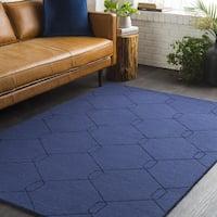 Blue Geometric Links Hand Loomed Wool Area Rug - 8' x 10'