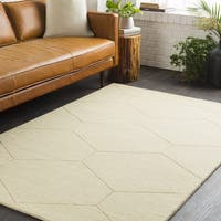 Pale Yellow Honeycomb Hand Loomed Wool Area Rug - 8' x 10'