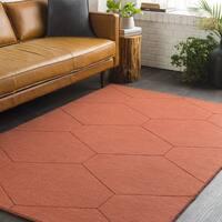 Orange Honeycomb Hand Loomed Wool Area Rug - 8' x 10'