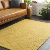 Trocadero Grey Geometric Hand Loomed Wool Area Rug - 8' x 10'