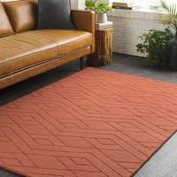 Trocadero Orange Geometric Hand Loomed Wool Area Rug - 8' x 10'