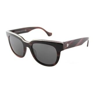 Balenciaga Square Unisex Brown Horn Frame Grey Gradient Lens Sunglasses