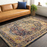 "The Curated Nomad Valparaiso Yellow Vintage Area Rug - 7'10"" x 10'"
