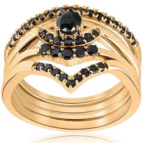 10K Yellow Gold 1/2ct 4-Ring Stackable Black Diamond Curved Wedding Engagement Set