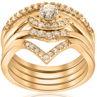 10K Yellow Gold 1/2ct 4-Ring Stackable Yellow Gold Diamond Solitaire Wedding Engagement Set (I-J, I2-I3)