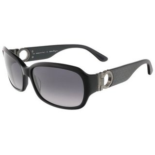 Salvatore Ferragamo SF608S Black Rectangle Frame Black Lens Sunglasses