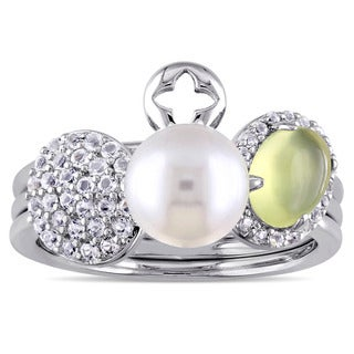 Miadora Sterling Silver Cultured Freshwater Pearl Yellow Dyed Quartz White Topaz 3-Piece Stackable Ring Set (7.5- 8 mm)
