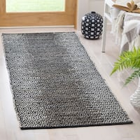 Safavieh Vintage Leather Hand-Woven Modern Geometric Light Grey/ Grey Runner Rug - 2'3 x 6'
