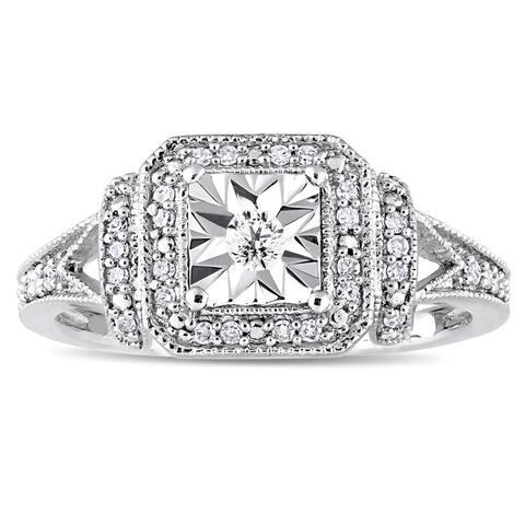 Miadora Sterling Silver 1/5ct TDW Diamond Square Halo Engagement Ring - White