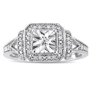 Miadora Sterling Silver 1/5ct TDW Diamond Square Halo Engagement Ring