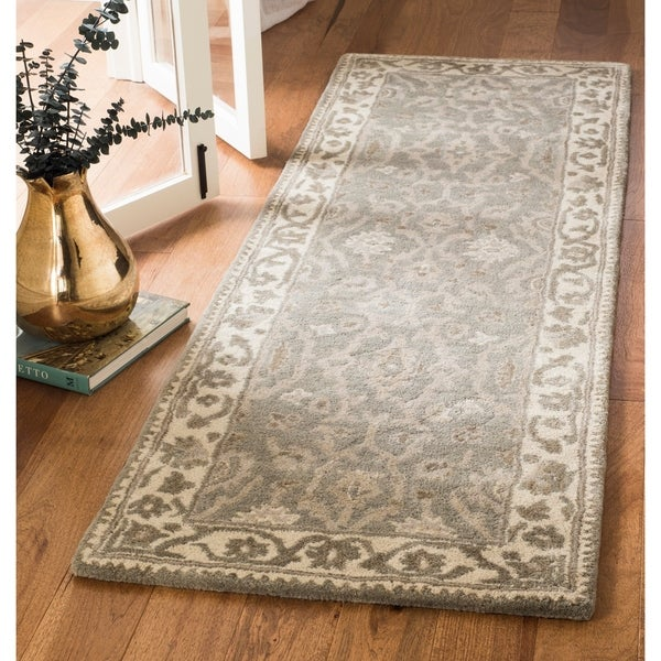 Safavieh Royalty Hand-Woven Wool Transitional Geometric Grey/ Cream Runner Rug - 2'3 x 7'