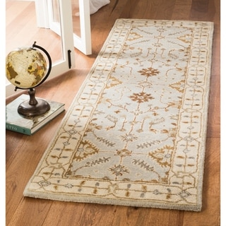 Safavieh Royalty Hand-Woven Wool Transitional Geometric Light Grey/ Cream Runner Rug (2'3 x 7')