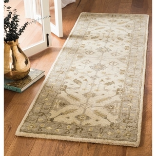 Safavieh Royalty Hand-Woven Wool Transitional Geometric Cream/ Light Grey Runner Rug (2'3 x 7')