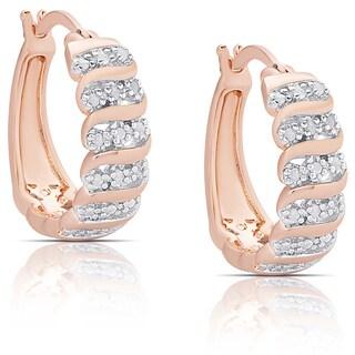 Finesque Rose Gold Overlay 1/4ct TW Diamond 'S' Design Hoop Earrings (I-J, I2-I3)
