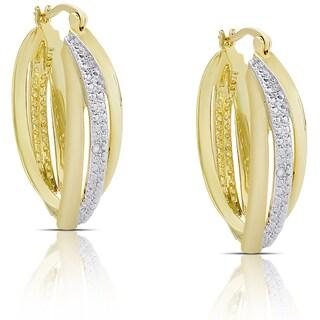 Finesque Gold Overlay Diamond Accent Swirl Hoop Earrings (I-J, I2-I3)