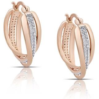 Finesque Rose Gold Overlay Diamond Accent Swirl Hoop Earrings (I-J, I2-I3)