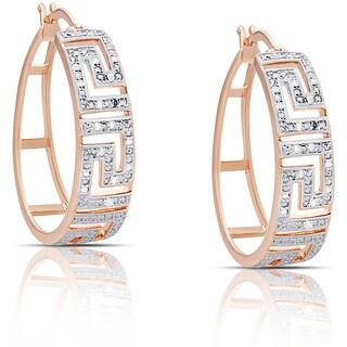 Finesque Silver or Gold Overlay 1/4ct TW Diamond Greek Key Design Hoop Earrings (I-J, I2-I3)