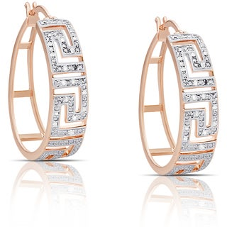 Finesque Silver or Gold Overlay 1/4ct TW Diamond Greek Key Design Hoop Earrings (I-J, I2-I3)