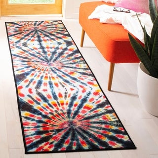 Safavieh Paint Brush Contemporary Abstract Black/ Coral Runner Rug (2'3 x 8')