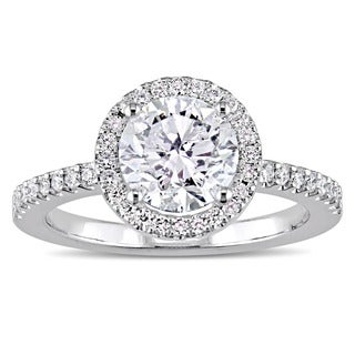 Miadora Signature Collection 18k White Gold 1 3/4ct TDW Diamond Solitaire Halo Engagement Ring