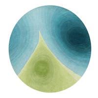 Alliyah Rugs Blue/ Green Wool Round Rug - 4'x4'