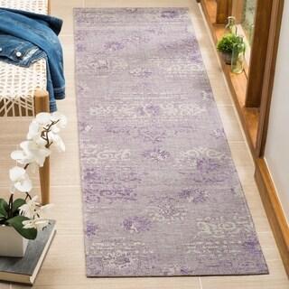 Safavieh Palazzo Light Grey Anthracite/ Purple Chenille Runner Rug (2' x 7'3)