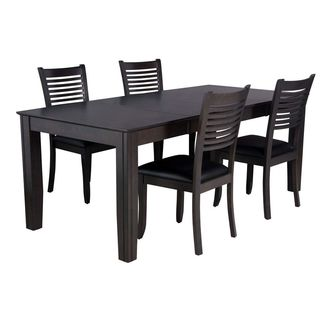 Chelsea Dark Gray Rubberwood and Black Faux Leather 5-piece Dining Set