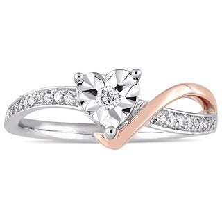 Miadora 10k 2-Tone White and Rose Gold 1/10ct TDW Diamond Heart-Shaped Crossover Engagement Ring