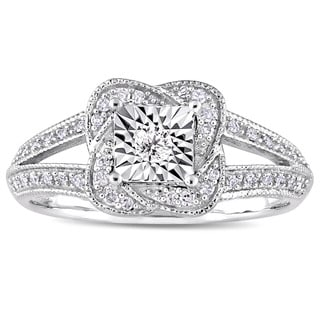 Miadora Signature Collection 10k White Gold 1/5ct TDW Diamond Twisted Square Halo Engagement Ring