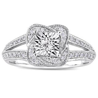 Miadora Signature Collection 10k White Gold 1/5ct TDW Diamond Twisted Square Halo Engagement Ring|https://ak1.ostkcdn.com/images/products/16795899/P23101155.jpg?impolicy=medium
