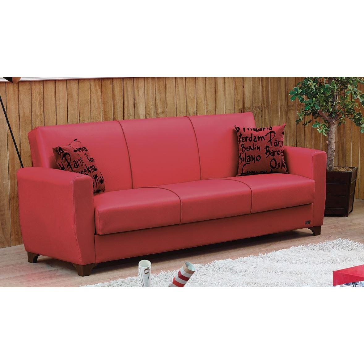 Dallas Red Convertible Sofa Bed