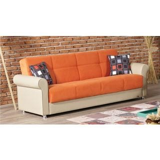 Pacific Orange Sleeper Sofa with Storage