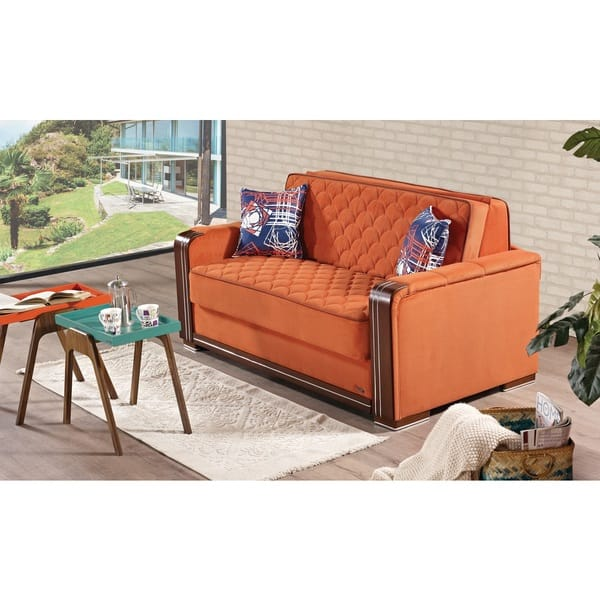 Fantastic Shop Kansas Orange Fabric And Wood Sleeper Loveseat With Pabps2019 Chair Design Images Pabps2019Com