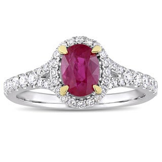 Miadora Signature Collection 14k White Gold Yellow Gold Prongs Oval-Cut Ruby and 1/2ct TDW Diamond H