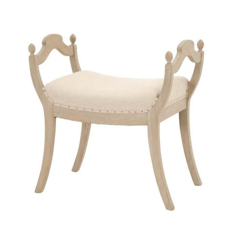 Misty Natural Fabric Stool with Nailhead Trim