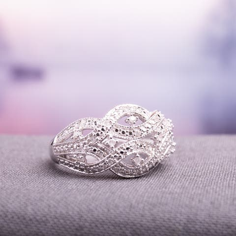 Miadora Sterling Silver 1/8ct TDW Diamond Interlaced Triple Row Infinity Ring - White