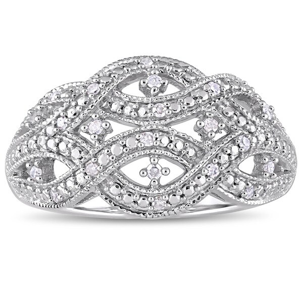 Miadora Sterling Silver 1/8ct TDW Diamond Interlaced Triple Row Infinity Ring