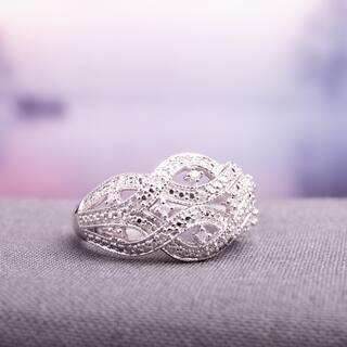 Miadora Sterling Silver 1/8ct TDW Diamond Interlaced Triple Row Infinity Ring|https://ak1.ostkcdn.com/images/products/16795962/P23101201.jpg?impolicy=medium