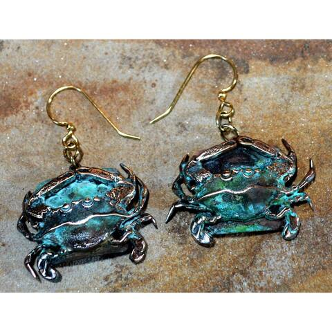 Handmade Olive Patina Detailed Crab Dangle Earrings (USA)
