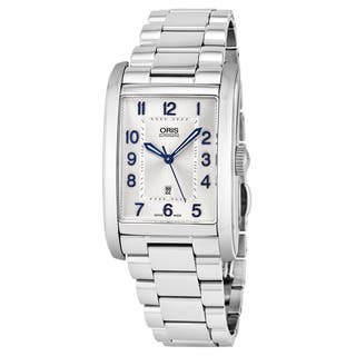Oris Men's 561 7693 4031 MB 'Rectangular' Silver Dial Stainless Steel Swiss Automatic Watch|https://ak1.ostkcdn.com/images/products/16795971/P23101204.jpg?impolicy=medium