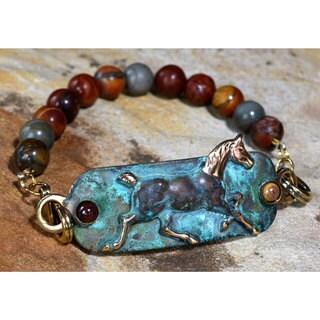 Handmade Verdigris Patina Brass Running Horse Equestrian Rockband Bracelet - Dakota Jasper - by Elai (United States)
