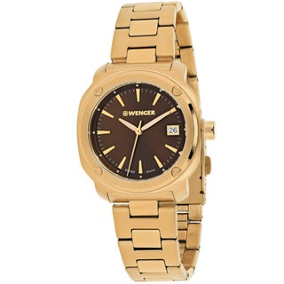 Wenger Women's 01.1121.105 'Edge Index' Rose-Tone Stainless Steel Watch - brown