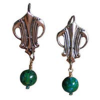 Handmade Polished Mirror Antique Art Deco Earrings - Chrysocolla (USA) - Green