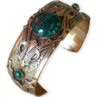 Handmade Hand Polished Antique Brass Art Deco Motif Cuff - Chrysocolla by Elaine Coyne (USA)