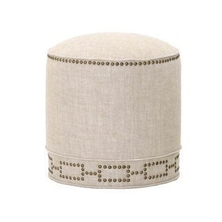 Embassy Round Natural Fabric Footstool With Nailhead Trim