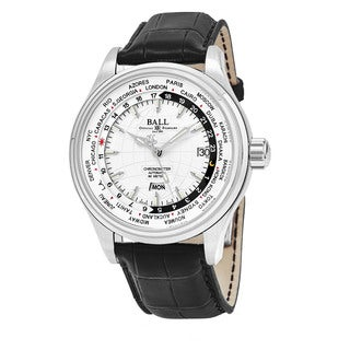 Ball Men's GM2020D-LCJ-WH 'Trainmaster' Silver Dial Black Leather Strap World timer Swiss Automatic Watch